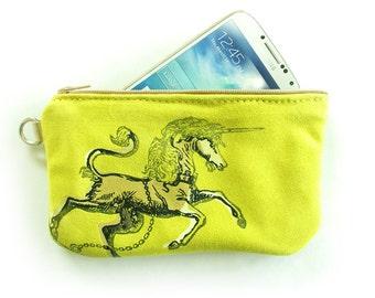 neon yellow Suede Unicorn Phone Case or Pencil Case