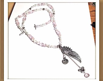 Handmade MWL pearl and pink crystal nrcklace. 0242