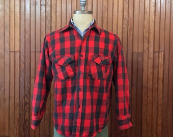 Frostproof Large Flannel Work Shirt Men's Red & Black Buffalo Plaid Heavy Cotton Made In USA