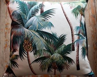 palm tree barkcloth cushion