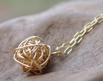Wire Ball Necklace, Simple Gold Necklace