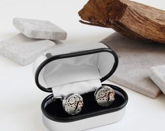 Personalised Chrome Cufflink Box with Watch Movement Cufflinks ~ Valentines, Fathers Day, Wedding, Anniversary, Birthday Gift