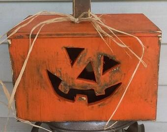 Handmade wooden Jack O Lantern box