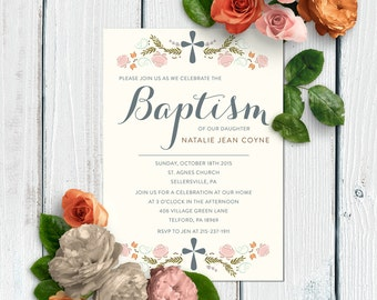 Classic and Simple Baptism Invitations