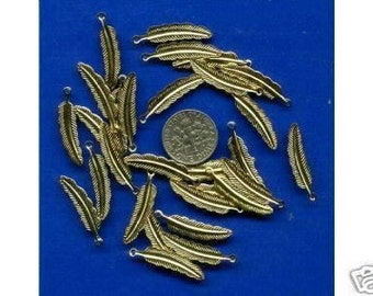 30 Gold Plated Feather Charms 25mm: Beads, Earrings