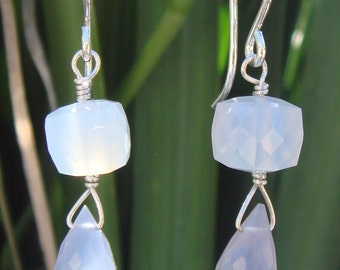 Blue Chalcedony Drop Earrings, Chalcedony Gemstone Earrings, Blue Gemstone, Pierced Earrings, Drop Dangle Earrings, OOAK