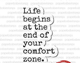 You Quote 'Comfort Zone' - Paperbabe Stamps - Red Rubber Cling Mounted Stamp - Typography for Mixed Media and paper crafting