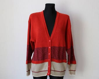Vintage Carmine Sangria Gray Cardigan Oversized Sweater Made in Denmark Medium Size