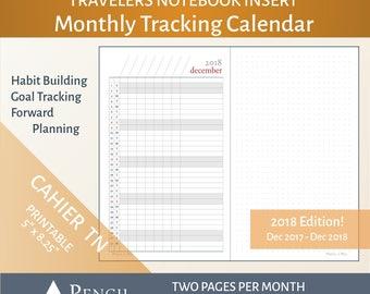 2018 Cahier Monthly Calendar Tracker Insert - Printable Wide Travelers Notebook