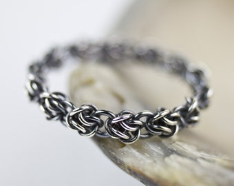 Sterling Silver Stacking Ring, Oxidized Argentium Silver Rose Band, Unique Fused Chainmaille, All Sizes 4 4.5 5 5.5 6 6.5 7 7.5 8 8.5 9 9.5