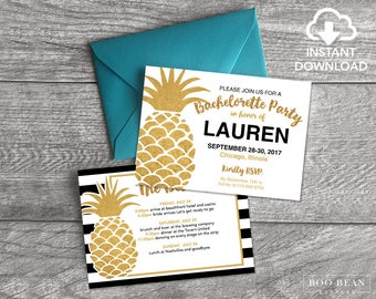 Gold Pineapple Stripes Bachelorette Invitation, Bachelorette Party, Weekend party, Hens Night, Hens Party, black and white stripes, pineappl