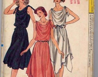 1980s Sleeveless Evening or Day Length Sundress Handkerchief Hem Blouson Vogue 7799 Uncut FF Size 6 Bust 30.5 Women's Vintage Sewing Pattern
