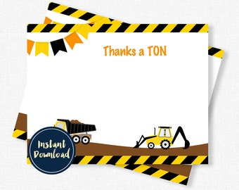 Construction Thank You Cards, Birthday Thank You Cards, Dump Truck Thank You, Boy Thank You Cards, Printable INSTANT DOWNLOAD