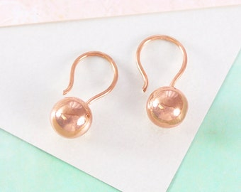 Rose Gold Earrings, Drop Earrings, Vintage Earrings, Round Earrings, Simple Earrings, Ball Earrings, Hook Earrings, 8mm Ball, 925 Silver