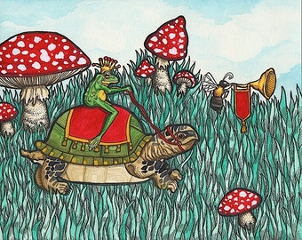 Frog Prince Riding on Turtle - Art Print - Watercolor Painting