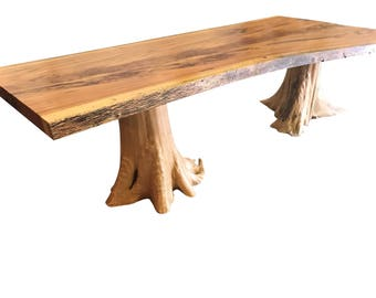 Live edge dining table, Live edge with a hand crafted custom base, unique dining table, custom slab table, free shipping