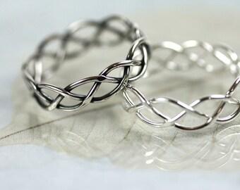 Braided Celtic Ring - Braid Ring 5mm - Silver Celtic Braid - Unisex - Silver Ring Braided - Lovers ring