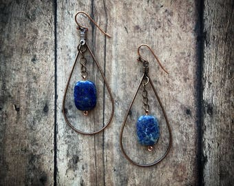Bronze Hoop with Blue Topaz Earrings