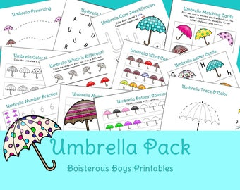 Umbrella PreK Early Learning Printable Pack