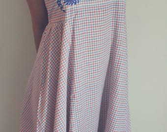 Gingham Organic Cotton Embroidered Maxi Dress