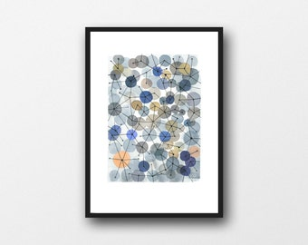 Neutral abstract art, Constellation abstract watercolor blue grey white ochre, abstract watercolor painting, abstract print, large print