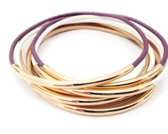 Bracelet, Bangle,Wrap Bracelet, Leather Bracelet, Plum Bohemian Bracelet, Stackable Bracelet, Stackable Bangles, Tube Bracelet, Girl Gift