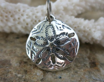 SAND DOLLAR CHARM, Sterling Silver 18mm with Jumpring, Ready to Ship!