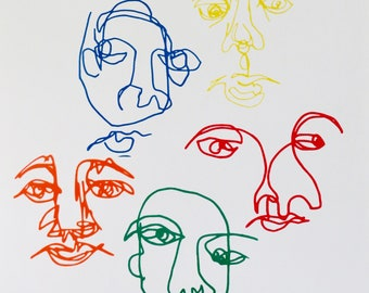 Abstract Blind Contour Faces Art Print