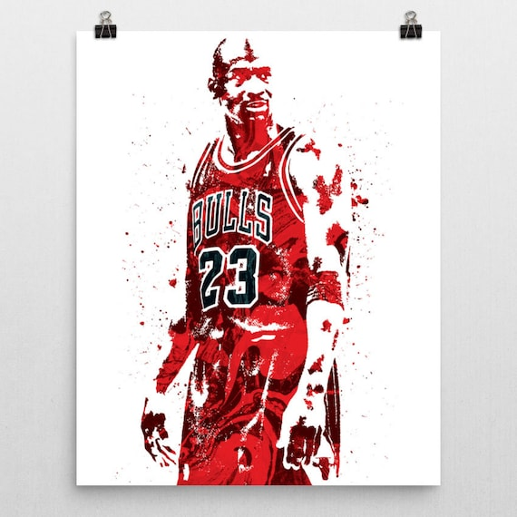 michael jordan chicago bulls sports art print basketball poster kids decor watercolor contemporary abstract drawing print man cave