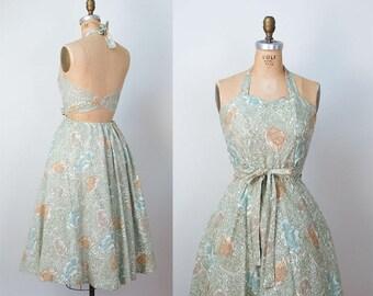1950s Halter Dress / 50s Novelty Print Cotton Sundress
