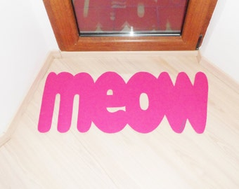 Meow thin doormat. Cute floor mat for kittens lovers. Cats lovely rug front door. Non-slip for kitchen, bath, bedroom or elsewhere.