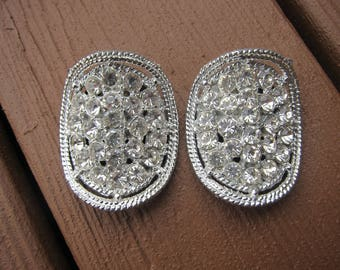 Vintage Art Deco Clear Rhinestone Large Shoe Clip Pair Tip Toe #115