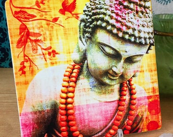 Buddha - Coaster - Collage - Spiritual Art - Buddha Art - Buddhism - Ceramic Coaster - Housewarming Gift - Spiritual Gift - Reiki Charged