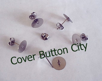Nickel Free 24 Titanium 10mm Earring Posts and Backs - 11.5mm Long