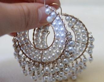 Vintage white pearl hoops