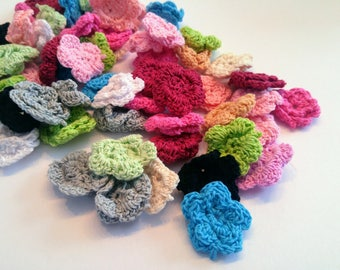 Set of various crocheted flowers