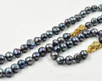Pearl Set- freshwater pearl necklace, 10-11 mm black baroque pearl necklace & bracelet