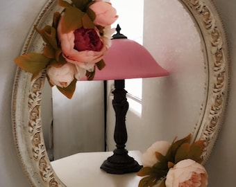 Shabby Chic Mirror Vintage Distressed Flower Ornate French Farmhouse Wall Decor