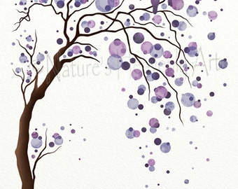 Love Bird Purple Watercolor Tree Art 11 x 14 Print, Abstract Nature Inspired Wall Art, Modern Home Décor (119)
