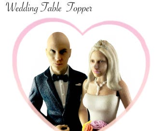 Customized Wedding Cake Topper, 3D Selfie Mr & Mrs, Personalized 3D Printed Figurines