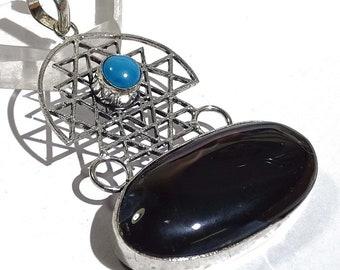 Pendant Necklace Stunning Black Botswana Agate Gemstone 925 Pendent Q181 Beautiful Shape Fashion Jewelry