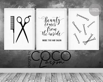 Hair salon decor, hairdressing scissors, hair quote, hair salon wall art, beauty salon decor, hair stylist gift, hairdresser gift, set of 3