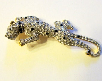 "Dramatic Leopard Brooch with Pave Set Rhinestones by ""Carolee"""