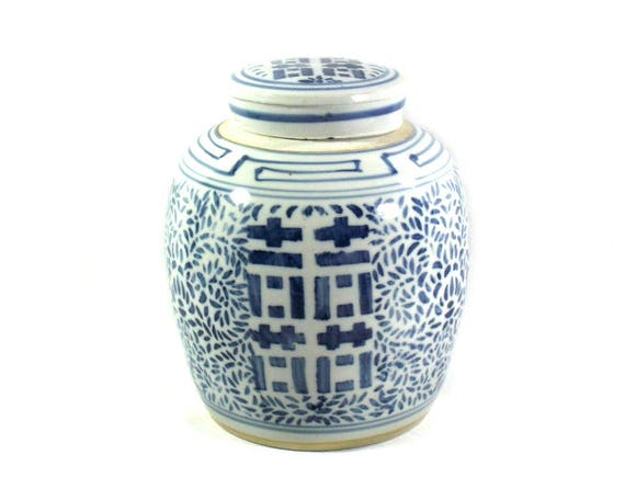 Vintage Chinese Porcelain Double Happiness Jar