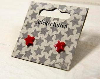 Red Christmas Star Earrings - cute festive red stud earrings, xmas jewellery, holiday earrings