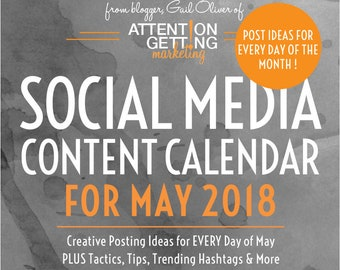 Social Media Planner / Social Media Content Calendar / Social Media Marketing Plan with POST IDEAS for Every Day of May 2018