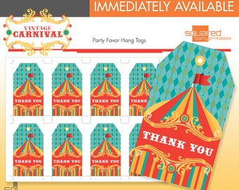 Circus Favor Tags - Printable Vintage Carnival Birthday Party - DIY Print - Original Colors - Instant Download
