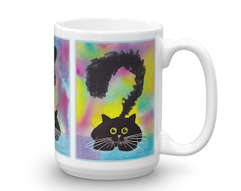 Cat coffee mug, Cat mug, cat lover gift, fun rainbow watercolor, cat gift cute colorful kitty cat mug, cat mom rainbow kitty cat dad ceramic