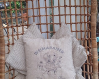 CUSHION COVER . Weimaraner dog personalised with name.