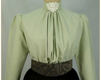 Victorian Sage & Ivory Stripe Blouse